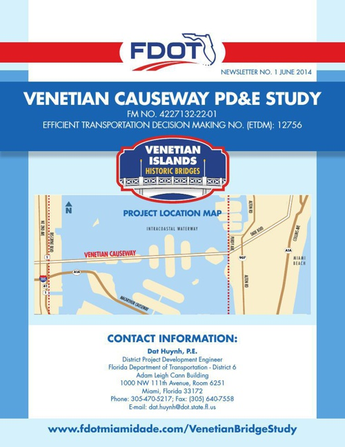 Venetian Causeway PD&E Study Newsletter No. 1 (June 2014)
