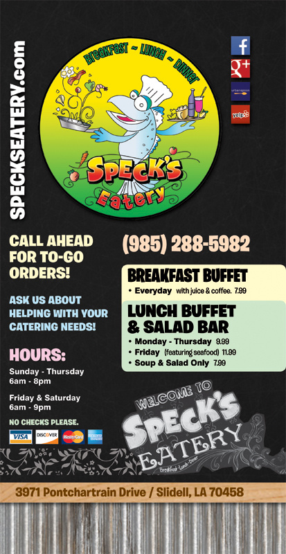 Specks Eatery - NEW Menu (05-30-2014)