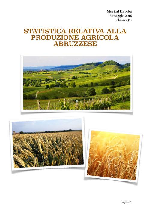 ALTERNANZA SCUOLA-LAVORO sulla PRODUZIONE AGRICOLA ABRUZZESE