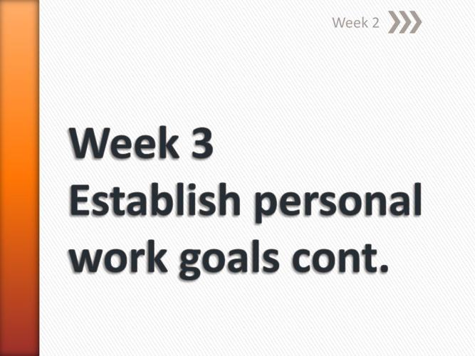 BSBWOR501B Week 3 Establish personal work goals