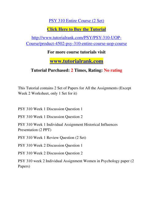 women in psychology psy 310