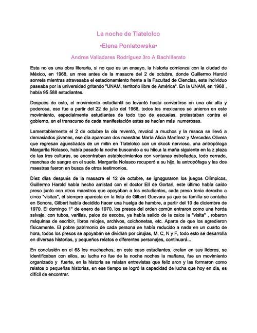 La noche de Tlatelolco-Reporte