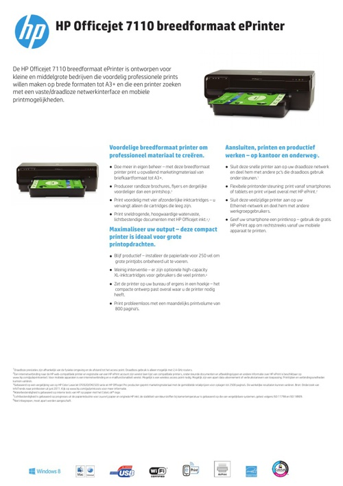 Specsheet HP 7110 printer Dutch