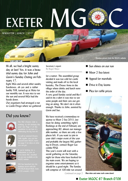 Exeter MGOC March newsletter