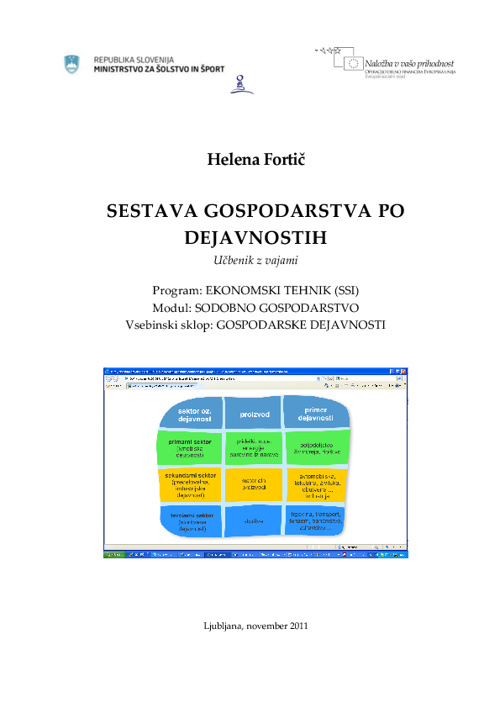 Sestava gospodarstva po dejavnostih_Fortič_UnisVET_2011