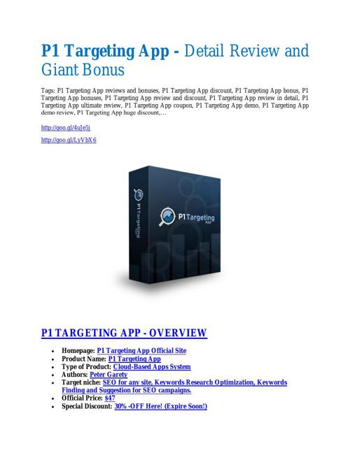 P1 Targeting Apps Review & HUGE $23800 Bonuses