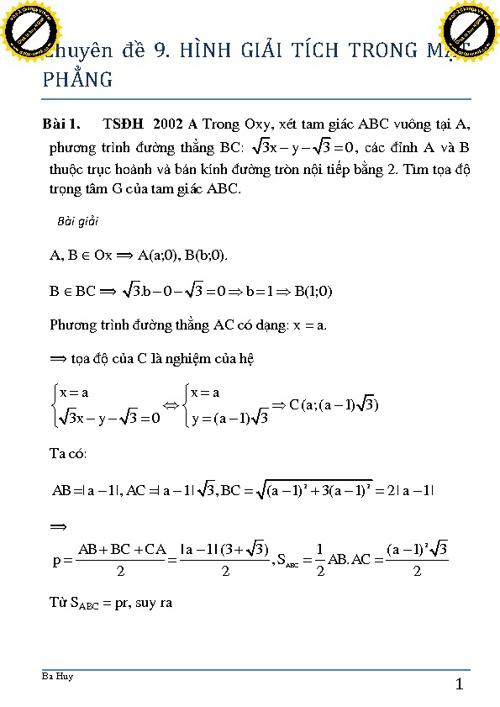CĐ9. Hình học giải tích trong mặt phẳng (p1)