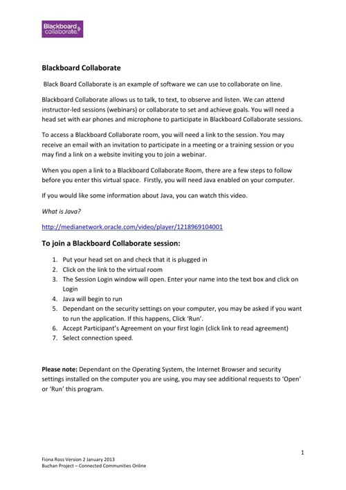 Black Board Collaborate - Instructions For Participants