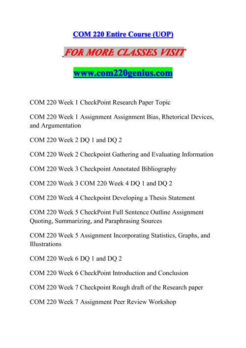 COM 220 GENIUS Experience Tradition/com220genius.com
