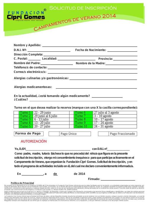 Solicitud de Inscripción Campamentos de Verano 2014 Turactivia F