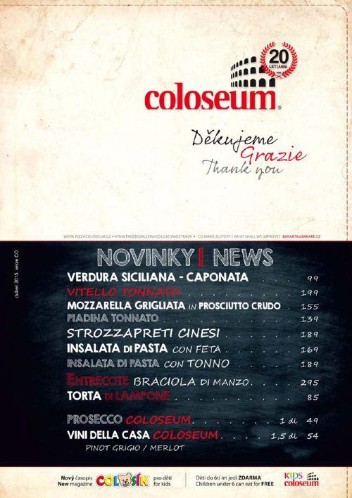 Jídelní lístek - Pizza Coloseum - Karolína