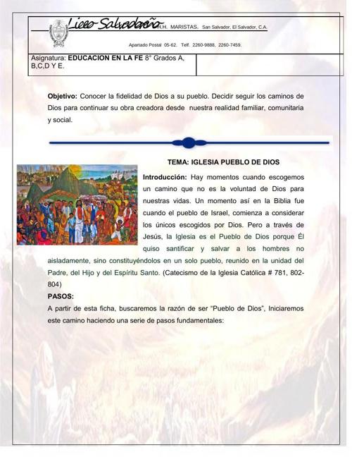 "GUIA: PUEBLO DE DIOS- DANIELA MONROY 8 ""A"" Nº 20"