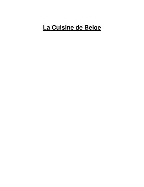 Le Cuisine de Belge