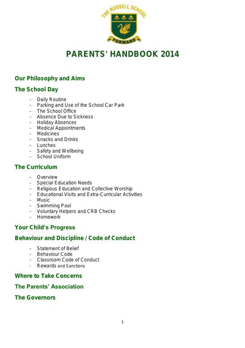 Russell School Parents' Handbook 2014-2 (1)