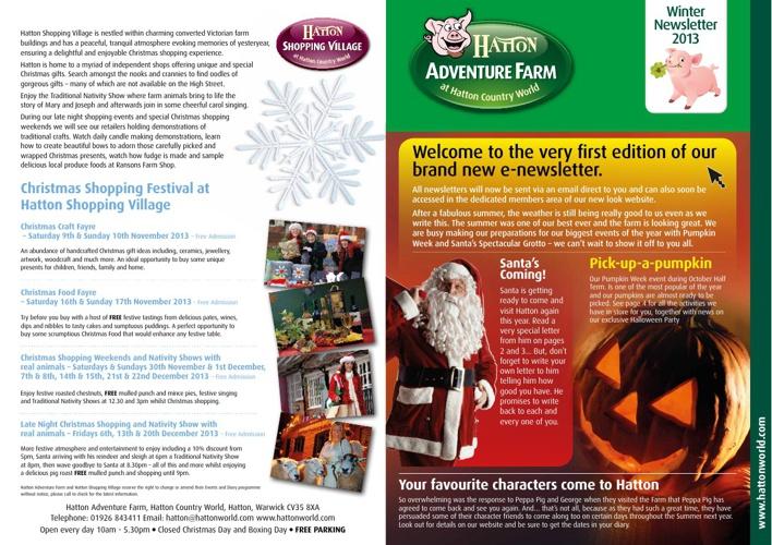 Hatton Adventure Farm - Winter Newletter 2013