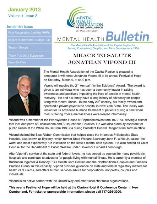 January 2013 Mental Health Bulletin