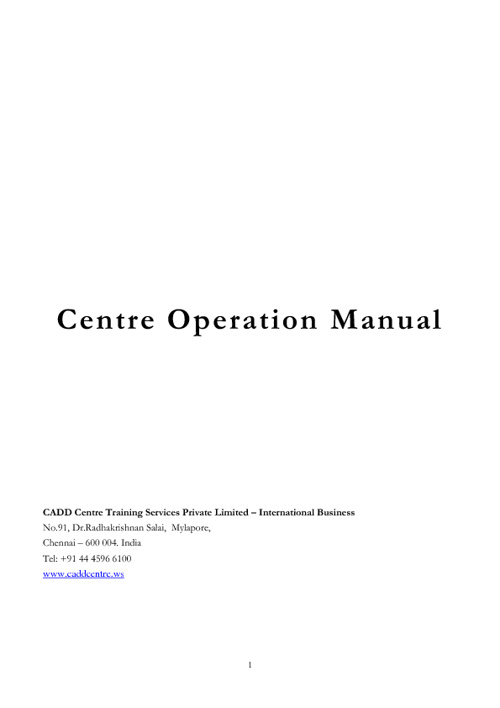 Centre Operational Manual