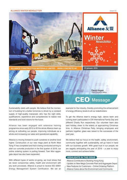 Alliance Winter Newsletter Issue 02