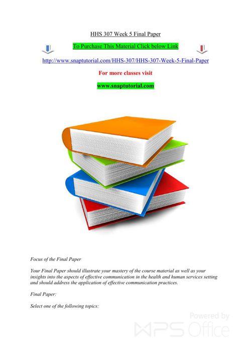HHS 307 Week 5 Final Paper