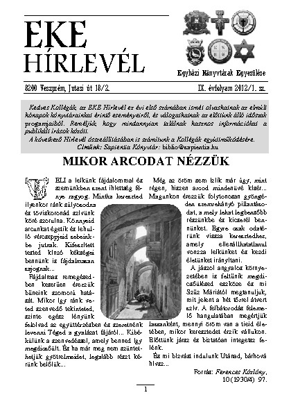 EKE HÍRLEVÉL 2012. 9. évfolyam. 1. szám