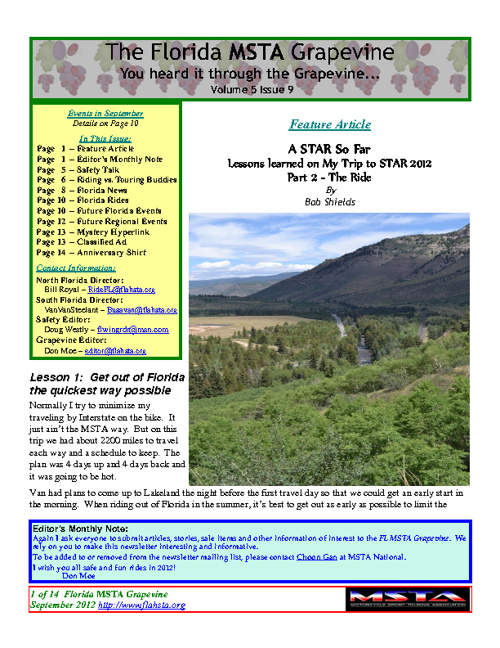 September 2012 Florida MSTA Newsletter