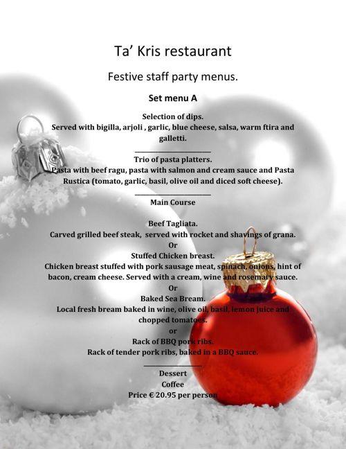 Staff party menus 2015