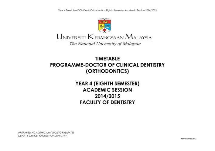 Sem 8 Year 4 DClinDent(Orthodontics)