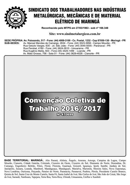 convenção coletiva 2016-2017