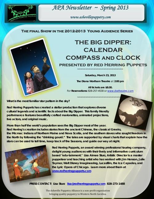 Asheville Puppetry Alliance Spring 2013 Newsletter
