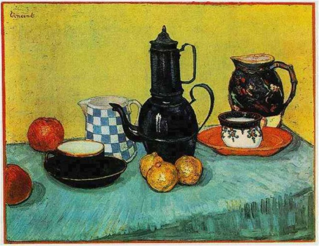 Still-Life--Blue-Enamel-Coffeepot,-Earthenware-and-Fruit-1