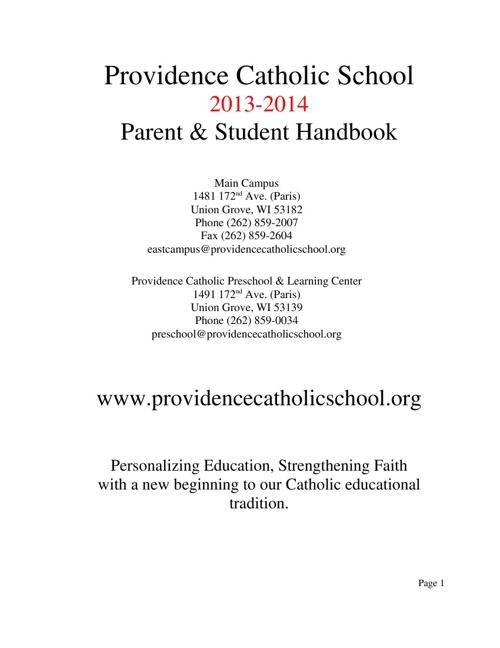 2013 - 2014 Parent - Student Handbook