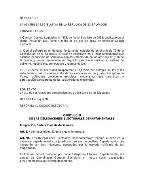 DECRETO REFORMA ORGANISMOS ELECTORALES