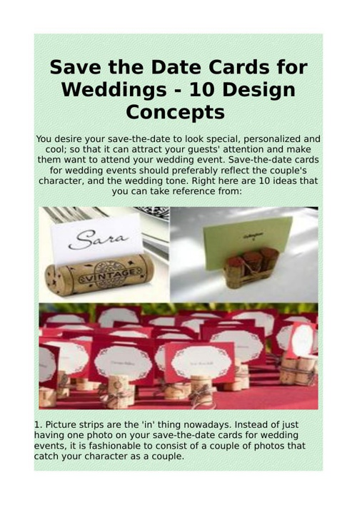 Save the Date Cards for Weddings - 10 Design Concepts