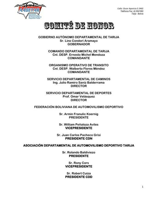 Convocatoria Circuito Tarija 2014