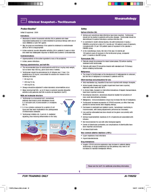 RA Clinical Snapshots Tocilizumab