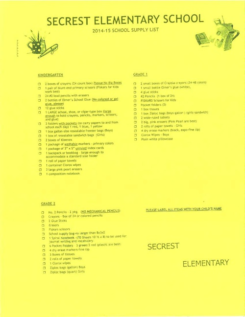 Secrest Supply List