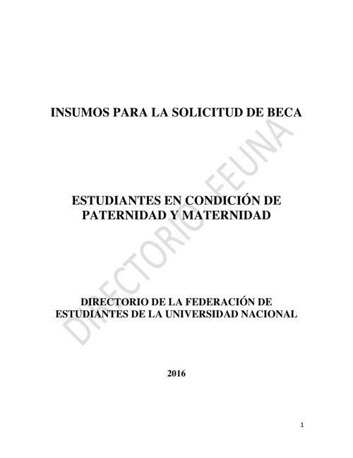 REGLAMENTO BECA PARA ESTUDIANTES PADRES Y MADRES