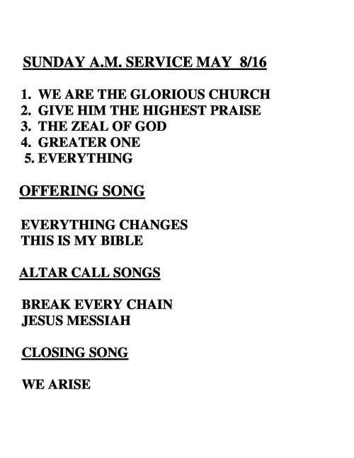 WORSHIP SONGS FOR THIS WEEK - Sunday May 08, 2016