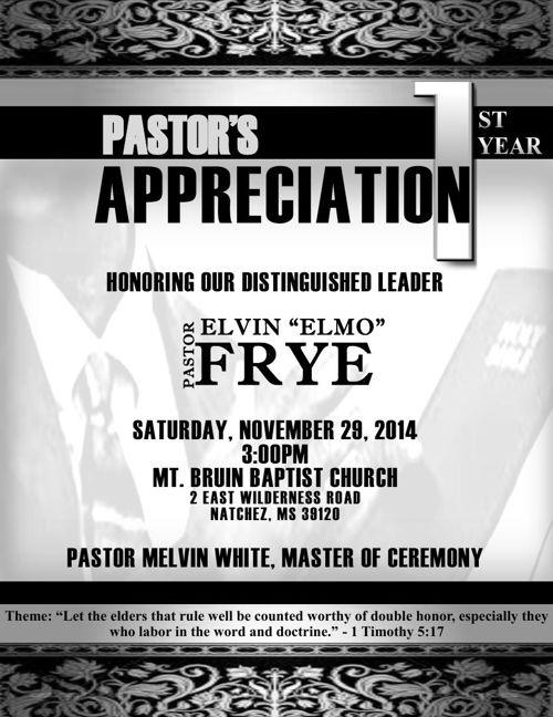 Pastor Appreciation Program.Pastor Elvin Frye, Sr.