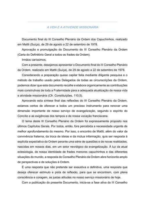 III CONSELHO PLENARIO DA ORDEM