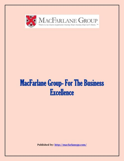 MacFarlane Group- For The Business Excellence