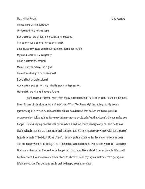 Mac Miller Poem