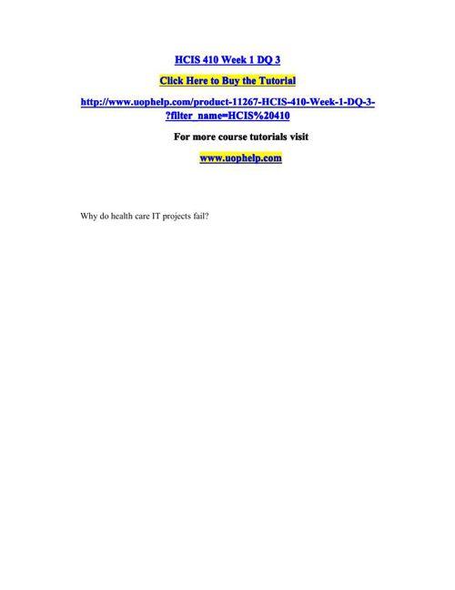 HCIS 410 Academic Coach/uophelp
