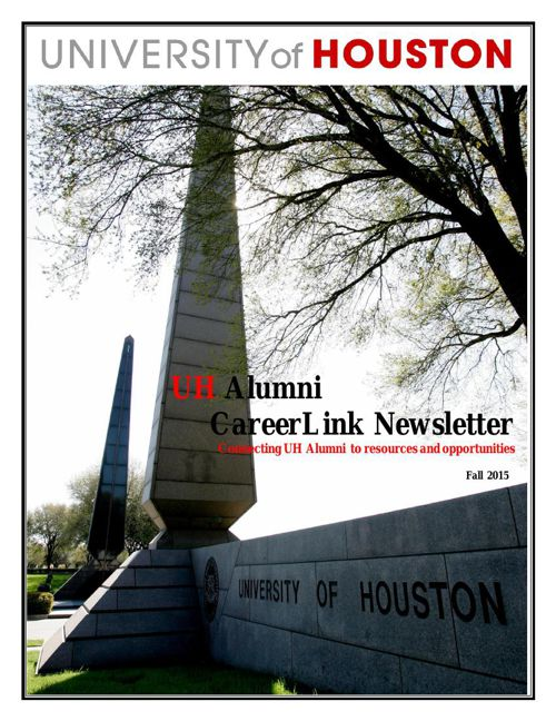 UH Alumni CareerLink Newsletter Fall 2015