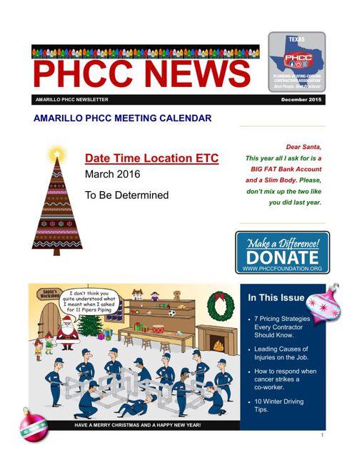 AMARILLO PHCC DECEMBER 2015 NEWSLETTER