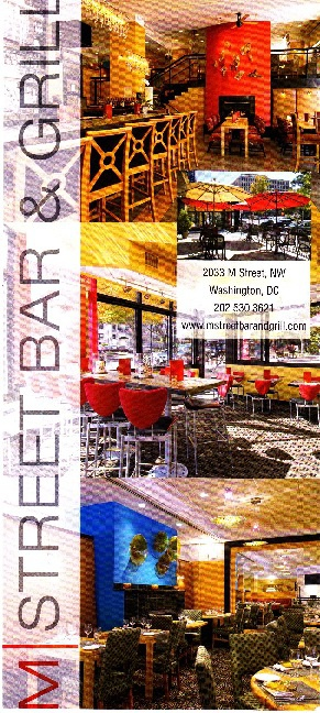 M Street Bar & Grill Rack Card