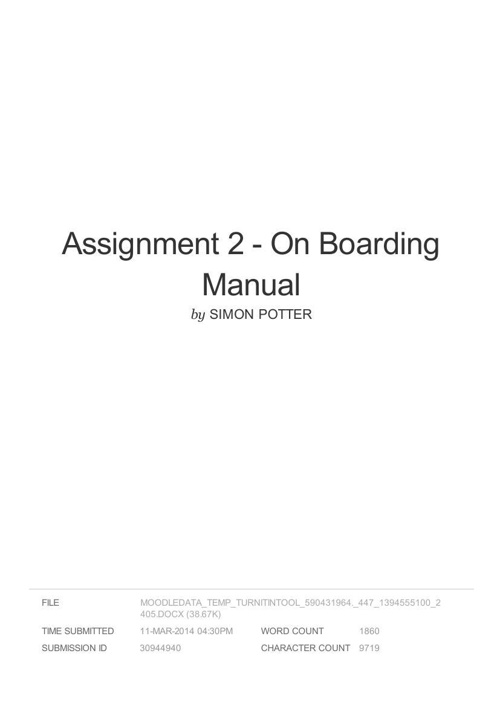 SPUN on-boarding manual