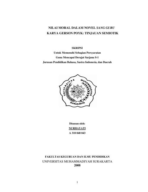 Nilai Moral dalam Novel 'SANG GURU' karya Gerson Poyk