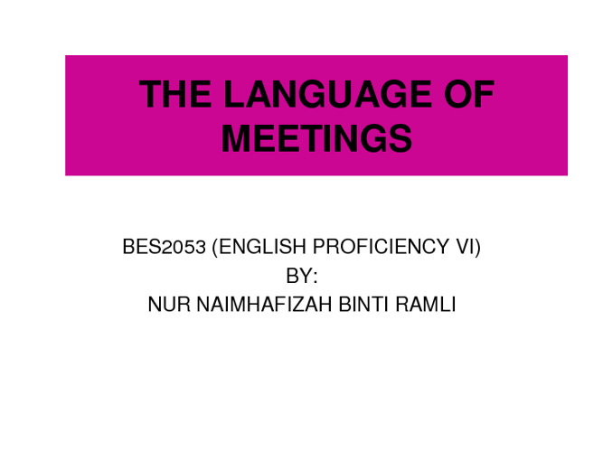 language of meeting