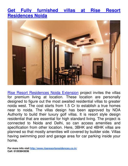Get Fully furnished villas at Rise Resort Residences Noida